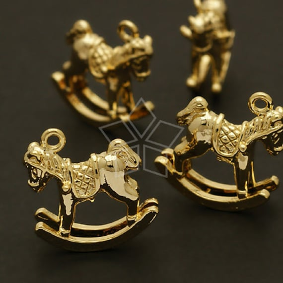 PD-108-GD / 2 Pcs - Rocking Horse Charms, Gold Plated over Brass / 16mm x 15mm