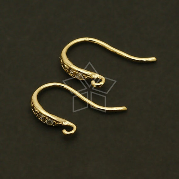 SI-246-GD / 2 Pcs - Mini Shapely Stone Hook Ear Wires, 16K Gold Plated over .925 Sterling Silver / 11mm x 16mm