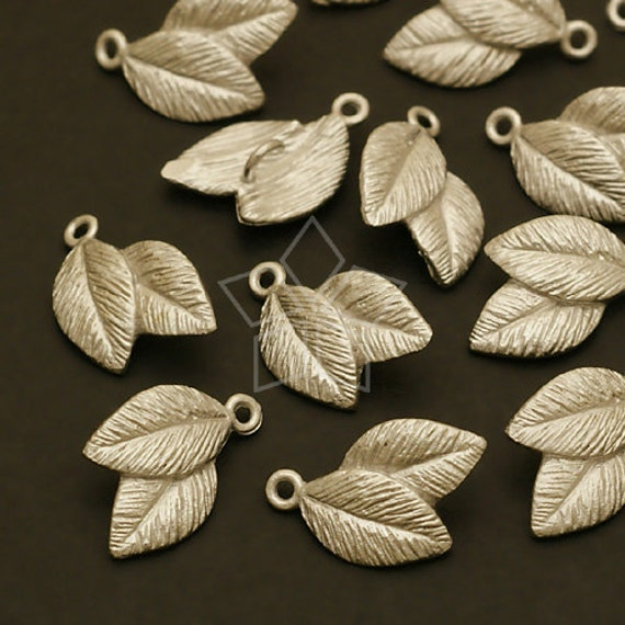 AC-420-MS / 6 Pcs - Double Cute Leaves Connector, Matte Silver Plated over Brass / 8mm x 12mm