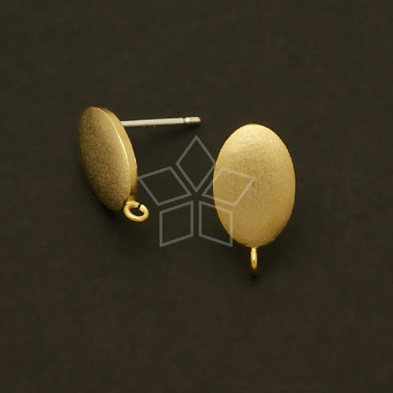 SI-244-GD / 2 Pcs - Satin Oval Earring Findings, Gold Plated over Brass body with .925 Sterling Silver Post / 8mm x 14mm