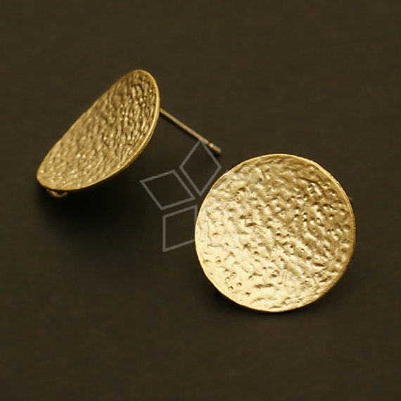 SI-094-MG / 2 Pcs - Bent Disc Earring Findings, Matte Gold Plated over Brass, with .925 Sterling Silver Post / 16mm