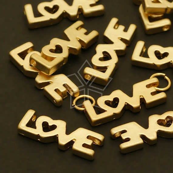 PD-348-MG / 4 Pcs - Love Type Connector, Matte Gold Plated over Pewter / 5mm x 15mm