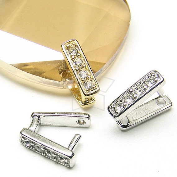 PS-009-OR / 2 Pcs - Cubic Square Bail for Necklace, Silver Plated over Brass / 10mm