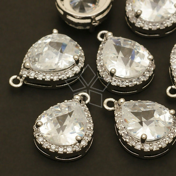 PD-386-OR / 2 Pcs - Cubic Zircon Bezel Setting Drop Pendant, Silver Plated over Brass / 13mm x 18.5mm