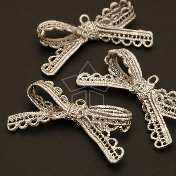 PD-409-MS / 2 Pcs - Lace BIG Ribbon Pendant, Matte Silver Plated over Pewter / 44mm x 23mm