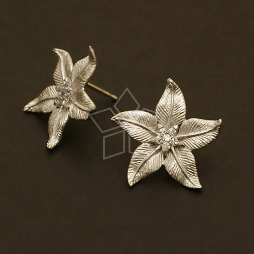 4a8b270e9995f SI-260-MS / 2 Pcs - Penta Leaves Earrings, Matte Silver Plated over ...
