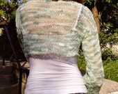 Summer Mint Cropped  Hand Knitted Sweater with Long Sleeves