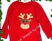 Rudolph Appliqued  Christmas T shirt