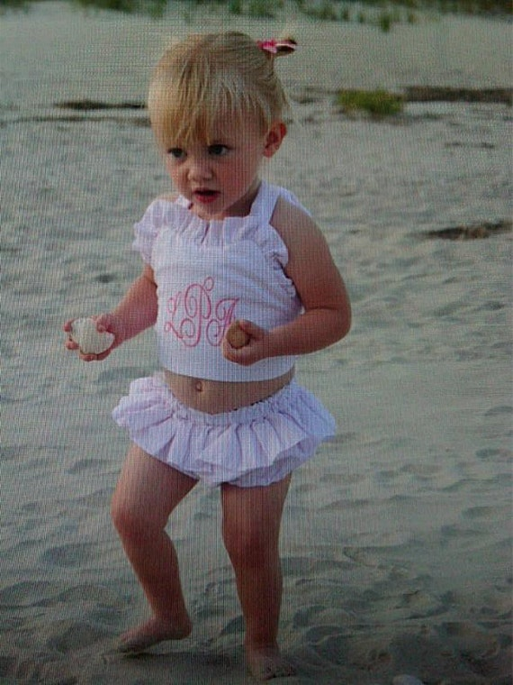 Toddler girls pink seersucker monogrammed bikini set