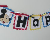 Mickey Mouse Clubhouse Banner  to match any color cutomized with childs age