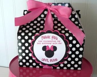 Minnie Mouse Pink & Black Birthday Favor Box-Set of 30