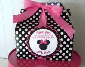Minnie Mouse Pink & Black Birthday Favor Box-SET of 15