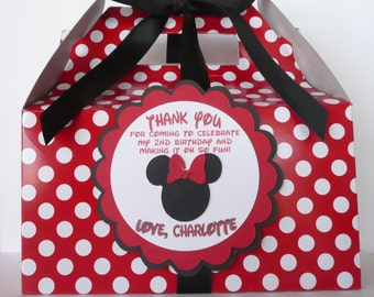 Minnie Mouse Red & Black Birthday Favor Box-Set of 34
