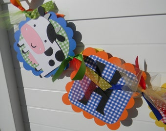 NEW Farm Animals Birthday Banner - customized with child's age