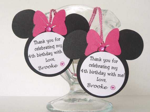 Minnie Mouse Birthday Party Favor Tags - Set of 12 Personalized Pink/Black OTHER colors avail