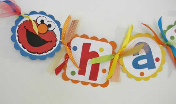 Elmo Sesame Street Birthday Banner in Bright Colors -