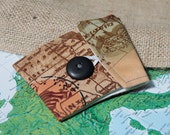 Brown Vintage Map Cotton Fabric Coffee Cozy