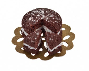 chocolate sponge cake  dollhouse  miniature