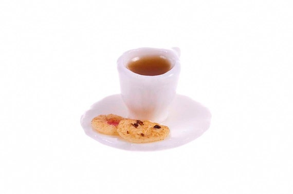 tiny cup of tea with cookies miniature food