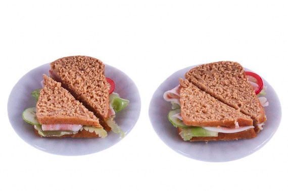 wholemeal ham salad  sandwiches for two miniature food