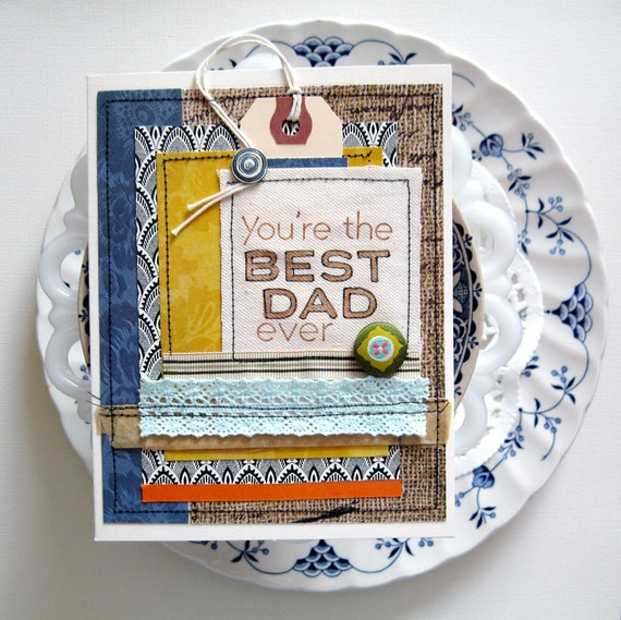 Father's Day Card. U R The Best Dad Ever. Shabby Chic. Handmade. One Of A Kind.