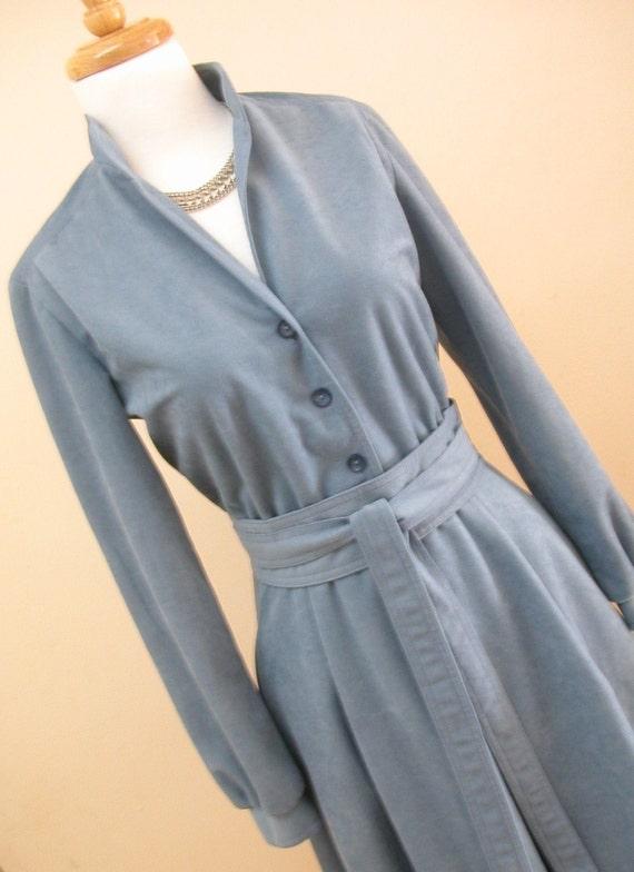 1970s Blue Dress / vintage shirt dress / shirtdress / suede dress /  sheath / belted / long sleeve / medium
