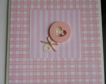 Baby Girl Announcements--set of 4, Pink, Gingham pattern, Baby, Rattle, Annouce