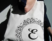 Custom Monogrammed Tote with Doily Design / White and Black