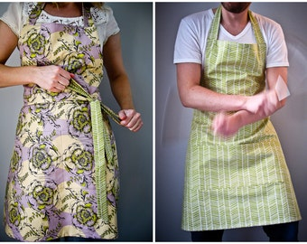 Reversible Apron / purple and green floral print herringbone pattern gift for couple kitchen decor hostess gift His Hers gourmet gifts