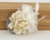 Ivory Rhinestone Bridal Hair Flower Piece - No.18