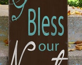 God Bless Our Nest - Customize with your name and date-  Typography Word Art