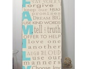 In Our Family  Rules Sign -Typography Word Art Sign -Distressed on Wood- Pick your colors
