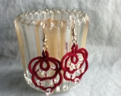 Wine Colored Fun Tatted Earrings