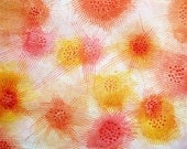 Orange floral painting 8 x 10 in print abstract stripes polka dots circles lines yellow red pink boho modern fine art giclee home decor - FischerFineArts