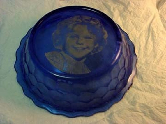 Shirley Temple Cobalt Blue Cereal Bowl 1940s