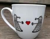 SALE Doctor  Who Dalek in Love Coffee Mug Exterminate The Hate Tea Cup MMMug