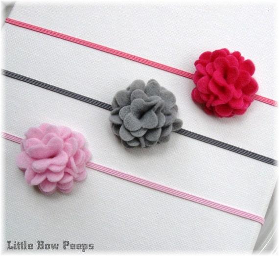 Tutu Chic Everyday Layered Felt Flower Headband - Light Pink Hot Pink Fuchsia Gray or White U CHOOSE 1