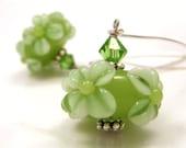 Cyber Monday Etsy Jewelry Free Shipping Etsy - Green Lampwork Earrings Long Floral Swarovski Crystals OOAK - Irish Meadow
