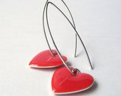 Red Enamel Hearts Dangle Earrings - Sweethearts