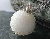 Snow White Necklace - Winter Jewelry, Lampwork Glass Bead Pendant, OOAK - 'Snowball'