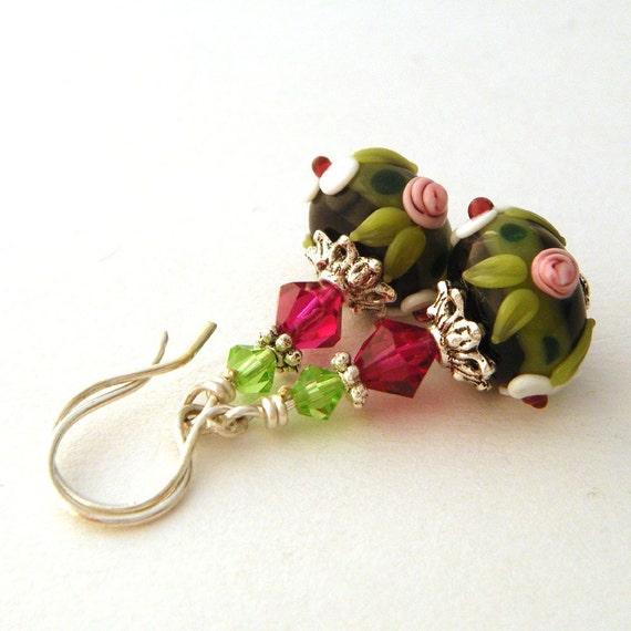 Reserved Listing - Beaded Earrings - Black, Hot Pink and Green Dangles, Flower Lampwork Glass Bead Earrings, OOAK - 'Summer Night'