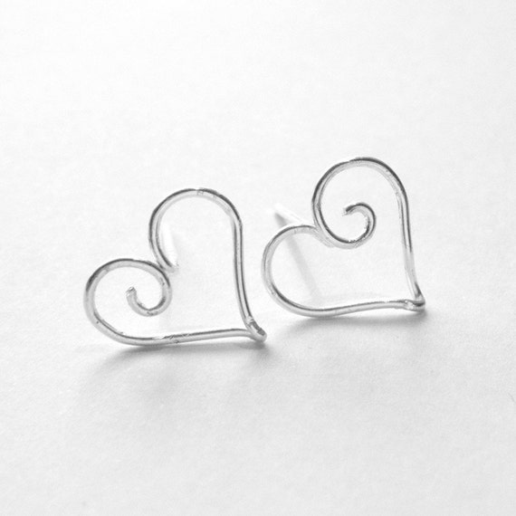 Heart Jewelry - Silver Hearts Earrings - Post Earrings, Wire Work Earrings, Studs, Mod Jewelry, Wire Wrapped - 'Hearts'