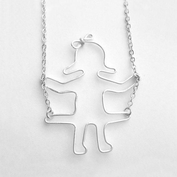 Swinging Girl Necklace - Swing Necklace, Little Girl on Swing Pendant, Wire Work Silver Jewelry, OOAK - 'Girl on a Swing'