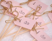 I Do Party Picks - blush pink with twine bows - set of 10