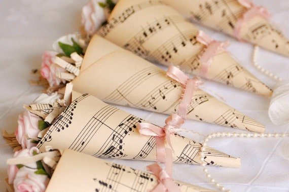 RESERVED for amywoolford - 5 x Vintage Music Sheet Rose Cones - Custom Order