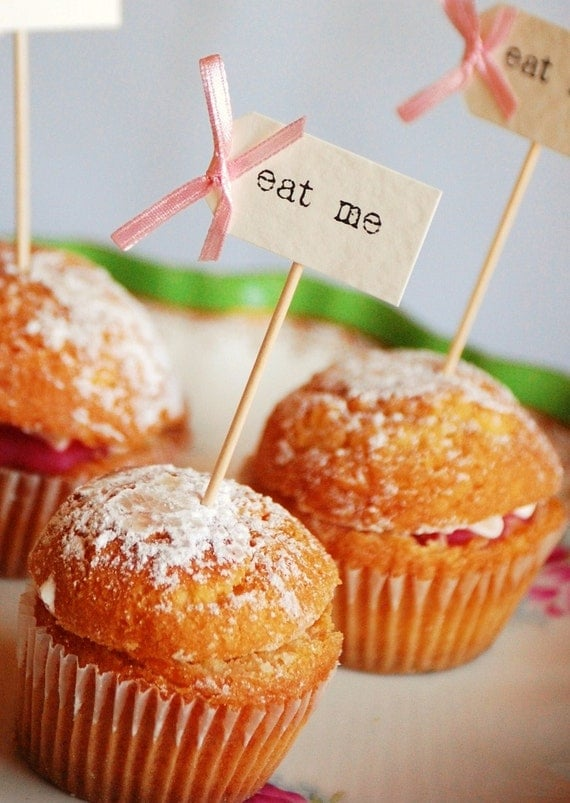 eat me Cupcake Toppers - ivory with pastel pink bows - set of 10