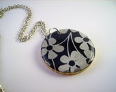 Recycled Wood Necklace - Silver and Black Floral Japanese Print