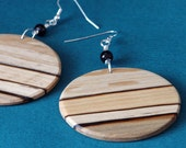 Large Round Drop Earrings from Wood