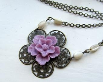 vintage style necklace with purple sakura flower