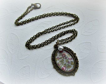 Liberty fabric little flowers antique bronze with crystal pearl long necklace
